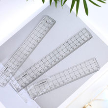 Régua acrílica transparente de 3 tamanhos da grade projetada com linhas precisas e visíveis da grade e do ângulo para material de escritório da escola