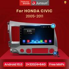 Junsun v1 2g + 32g android 10.0 dsp rádio do carro reprodutor de vídeo multimídia para honda civic 8 2005-2011 navegação gps nenhum 2din 2 din dvd