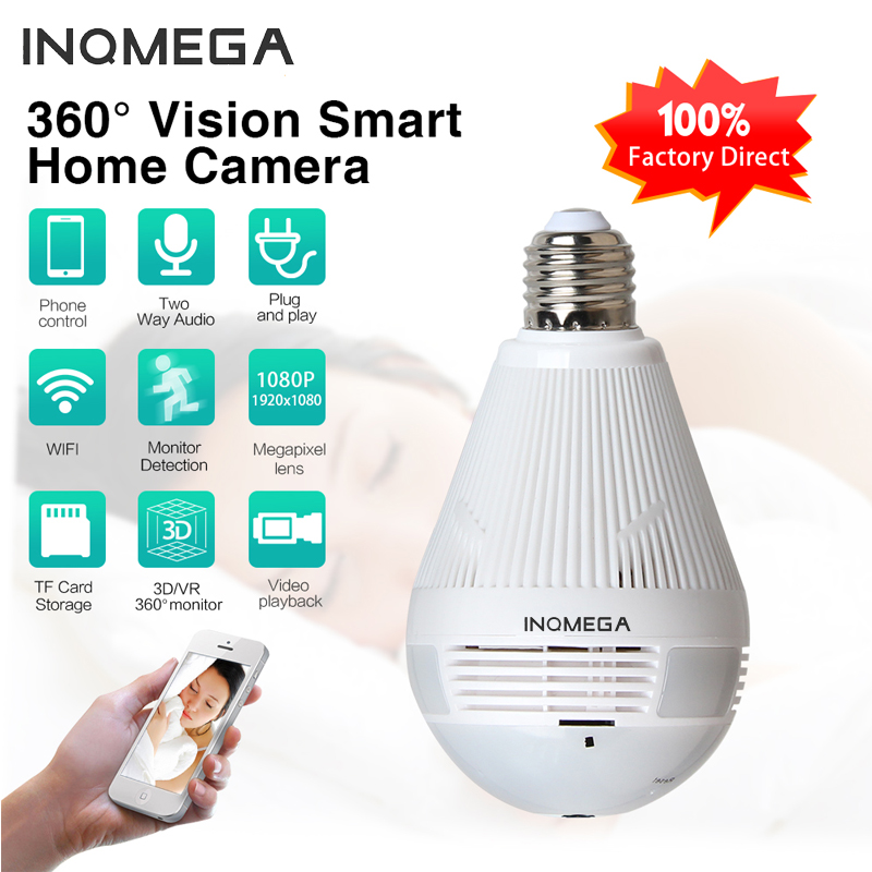 INQMEGA 960P Wifi Indoor Panoramic Camera Fisheye Bulb 360 Home Security Video Surveillance Night Vision Bilateral Audio