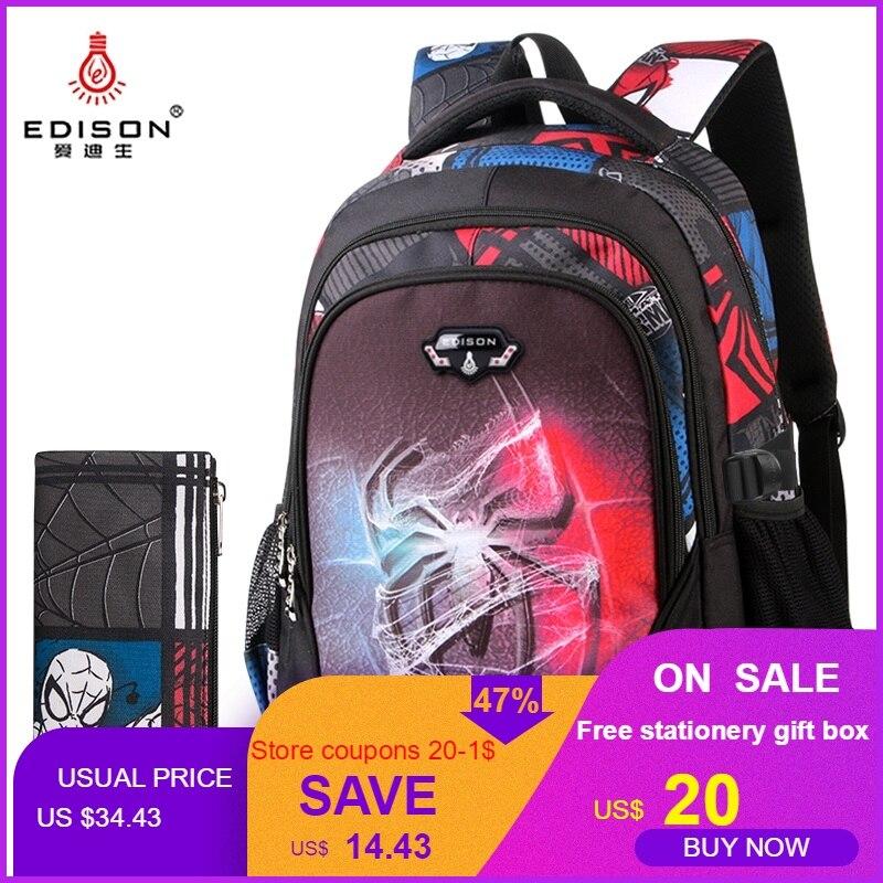Edison Teenagers School Bags Fashion Ultra Light Burden Reduction Children School Backpack Cartoon Backpack bags For Boys Girls-in School Bags from Luggage & Bags