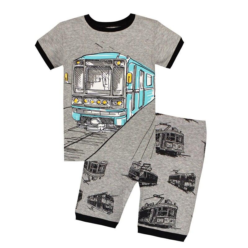New Cartoon Train Kids   Pajamas     Sets   Children Cotton Sleepwear Boys Short Sleeve Toddler Fashion Round Neck Pyjamas 2-7Y