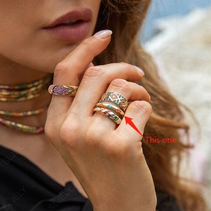 Image 5 - SLJELY Fashion Pure 925 Sterling Silver Jewelry Yellow Gold Color Multicolor Zircon Crosses Tribal Finger Ring Mana Collection