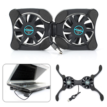 Foldable USB Notebook Cooling Mats with Double Fans Mini Notebook Cooler Cooling Pad for 7-15 inch Notebook Laptop mini foldable usb cooling fan octopus notebook cooler cooling pad stand double fans for notebook laptop