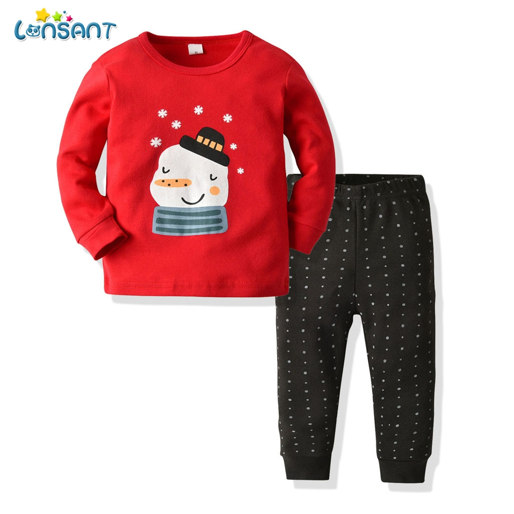 LONSANT Toddler Kids Baby Boys Girls Long-Sleeves O-neck Cartoon Merry Christmas Tops Pants Boy Clothing Outfits Set N30