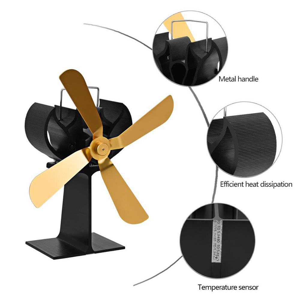 New 4 Blades Home Fireplace Fan Efficient Heat Distribution Heat Powered Stove Fan Eco Fans For Wood Stoves