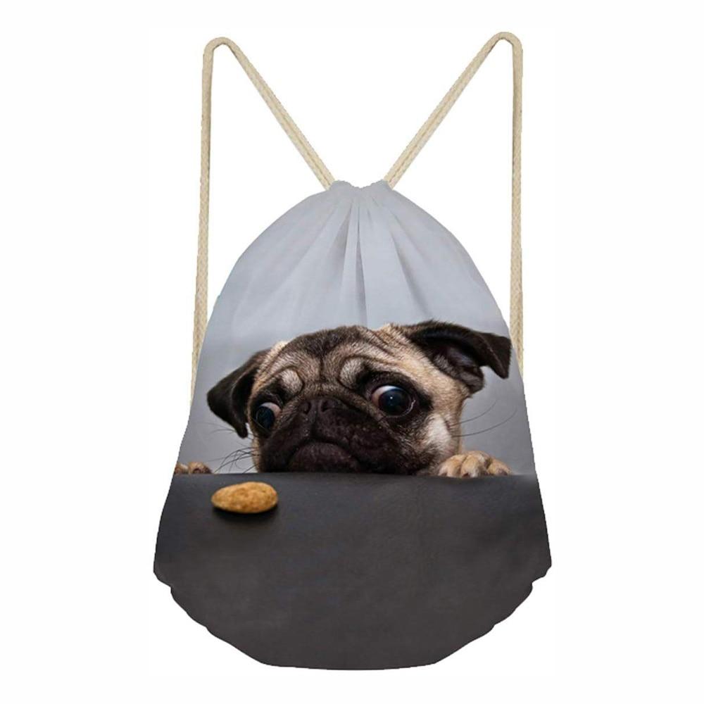 Borse Pug Cute 3d Print Drawstring Bag Women Men Travel Bag Fashion Teenager Girls Boys Softback Backpack Female Storage Bag