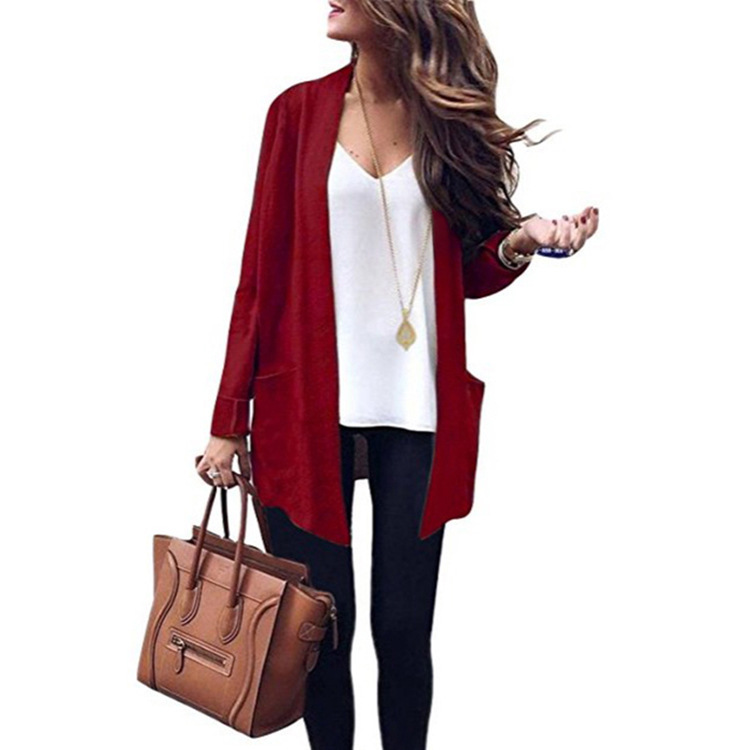 Large size women 39 s long sweaters 2019 autumn and winter new solid color large pocket knit cardigan women 39 s sweater in Cardigans from Women 39 s Clothing