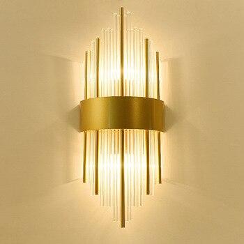 미국 유럽 게시물 현대 황금 금속 크리스탈 유리 튜브 벽 조명 램프 빌라 호텔 로비 거실 벽 sconce