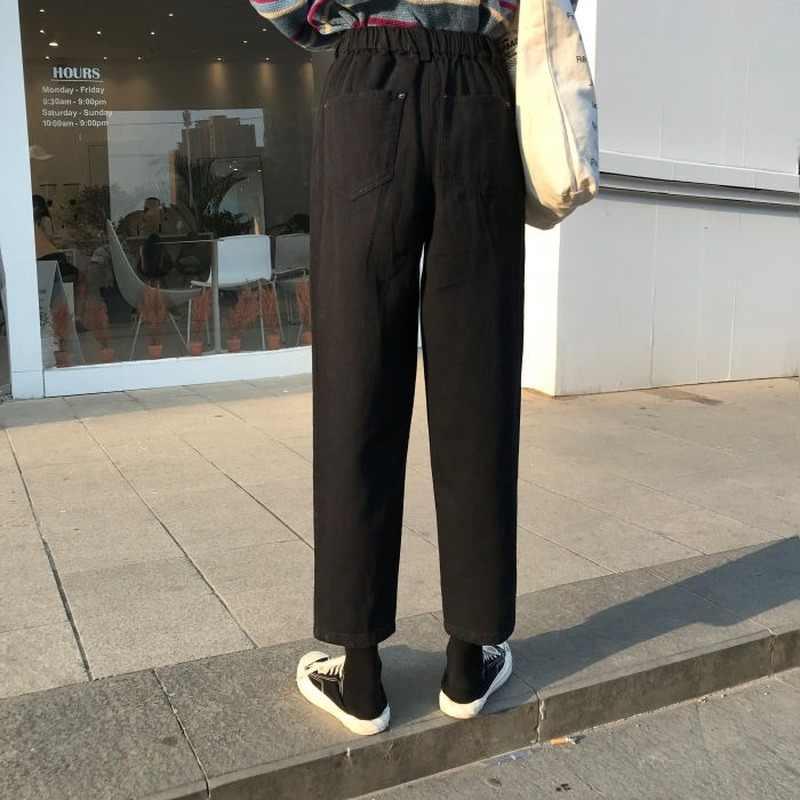 청바지 Womens 플러스 사이즈 솔리드 하이 웨스트 울장 하라주쿠 한국 스타일 빈티지 세련된 여성 바지 주머니 Simple Chic
