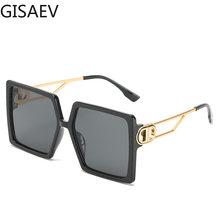 GISAEV sürüş gözlükleri kadın büyük boy kare çerçeve harf D güneş gözlüğü Vintage D şekli büyük boy çerçeve popüler moda gözlük