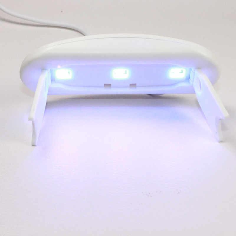 Unghie Lampada UV Led UV Del Gel Che Cura Lampada A Raggi Ultravioletti Fast Dry Nail Dryer Unghie Artistiche Strumenti di LUCE UV Portatile Bianco 3 lampade A LED 10 centimetri