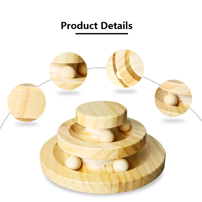 Original Wooden Cat Ball Toys Intelligence Triple Play Discs for Puppy Cat Crazy Ball Disk Interactive Toy 2019 Hot Sale in Cat Toys from Home Garden