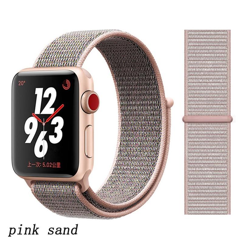 Спортивная петля ремешок apple watch band 42 мм 38 мм apple watch 4 3 band iwatch band 44 мм 40 мм correa pulseira 42 44 нейлоновый ремешок для часов - Цвет ремешка: pink sand