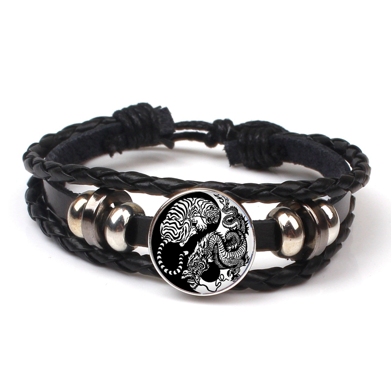 Fashion Retro Fashion Tai Chi Yin Yang Pattern Multilayer Leather Bracelet Yin Yang Logo Charm Bracelet Party Souvenir Gifts in Bangles from Jewelry Accessories