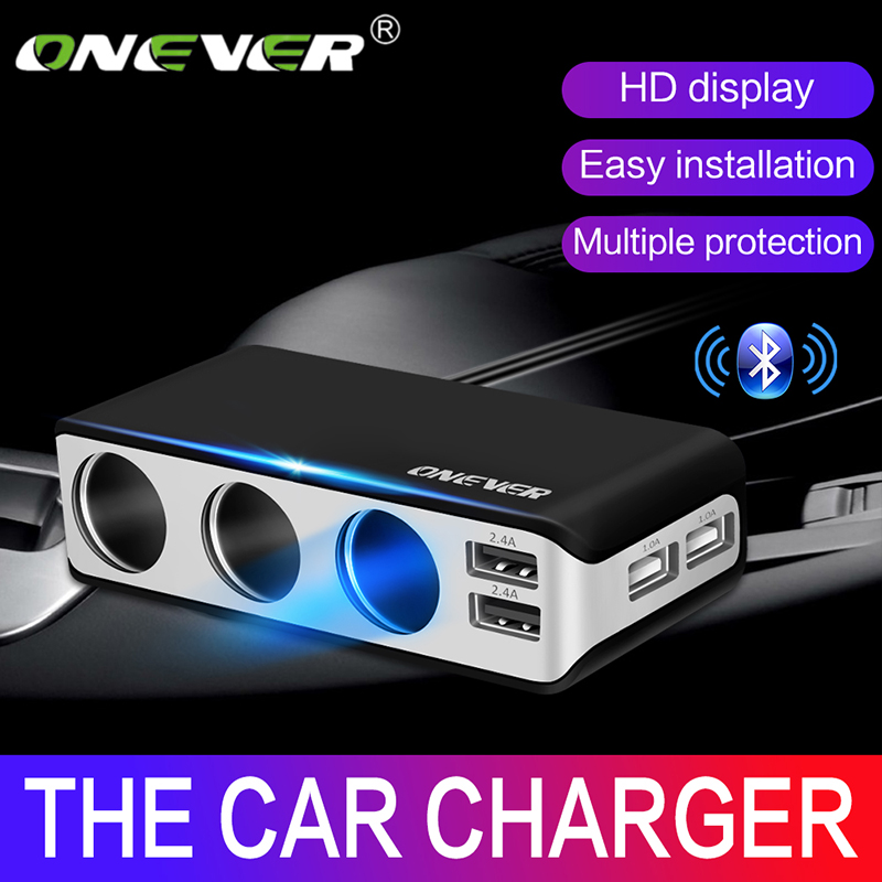 Onever 4 <font><b>USB</b></font> <font><b>Port</b></font> <font><b>3</b></font> Way <font><b>Car</b></font> Cigarette Lighter Socket Splitter 120W Output Power <font><b>Adapter</b></font> 12~24V <font><b>Charger</b></font> Fast Charging Voltmeter image