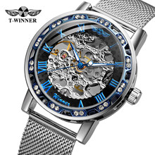 Winner Transparent Fashion Diamond Luminous Gear Movement Royal Design Men Top Brand Luxury Male Mechanical Skeleton Wrist Watch(China)