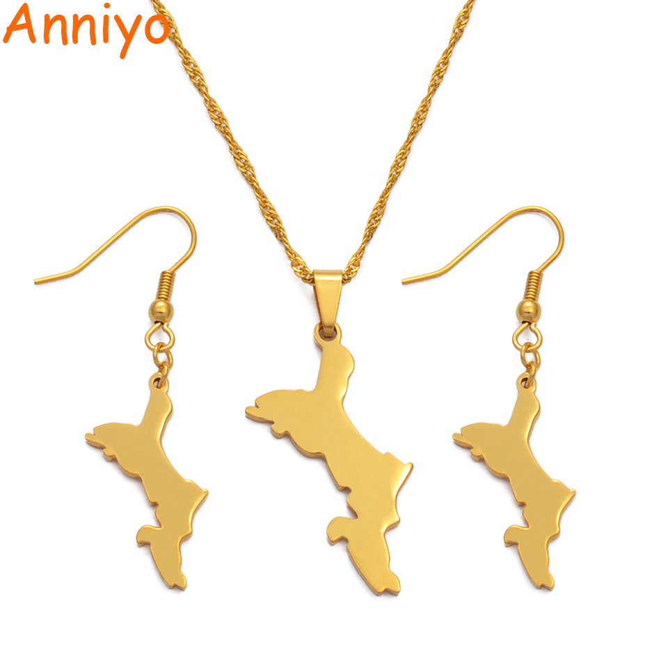 Anniyo Seychelles Map Jewelry sets Necklace Earrings for Women Gold Color Ethnic Jewellery Gifts #041821