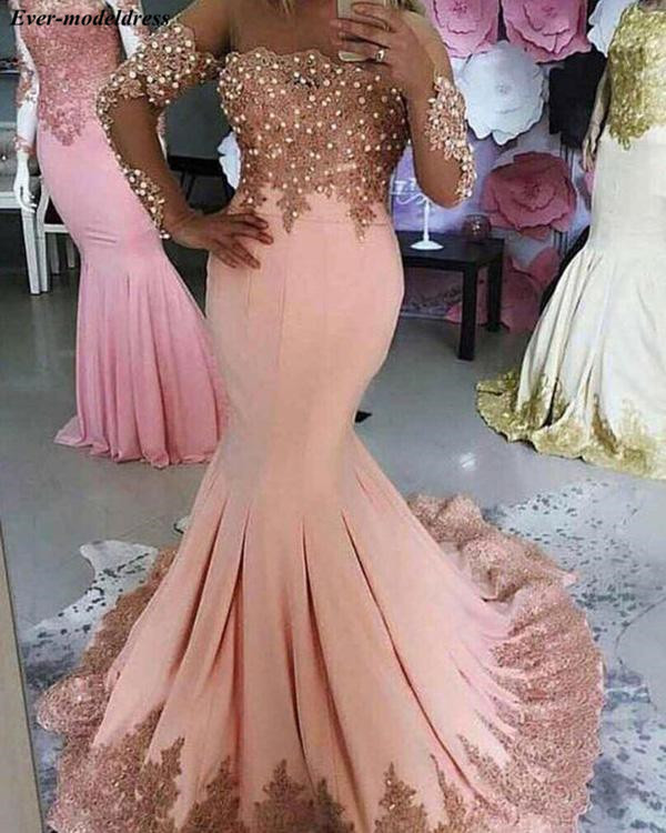Off Shoulder Pink Mermaid   Evening     Dresses   2019 Lace Appliques Crystal Sweep Train Long Prom Party Gowns Robe De Soiree Cheap