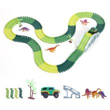 Dinosaur World Road Race Car Track Playset Toy Car Track Race Assembling Puzzle Dinosaur Kids Toys professional race lap timer applies to track car motorcycle karting car bike