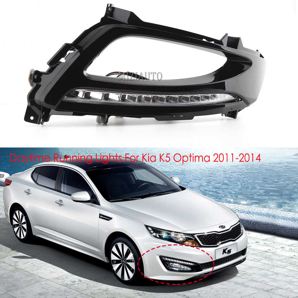 Araba LED gündüz farları Kia K5 Optima 2011-2014 DRL sis lambası Xenon beyaz 2 adet gündüz işık