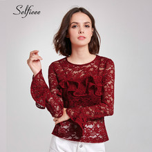New Fashion Burgundy Lace T Shirt Women Elegant O Neck Long Flare Sleeve Spring Tee Femme Streetwear Ruffles Ladies Tops