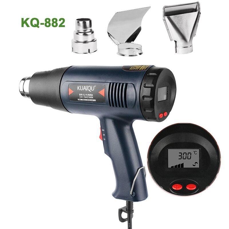 Цифровой дисплей электрический пистолет горячего воздуха с температурным контролем строительный фен для волос тепловой пистолет паяльные инструменты Регулируемый + 3 насадки|Термофены|   | АлиЭкспресс