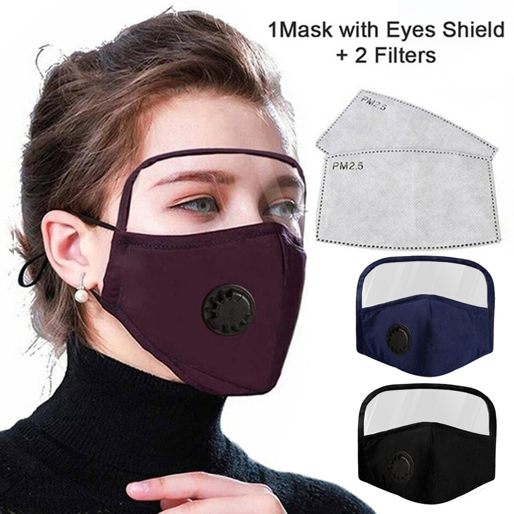 2 in 1 Face Masks with Eyes Shield (1 Mask with Shield+2 Filters)