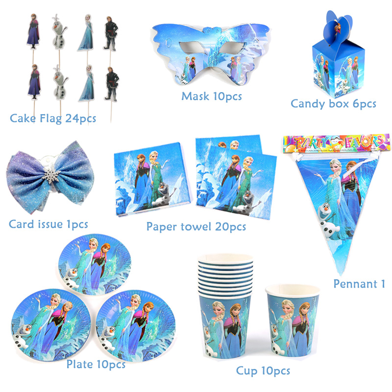 FROZEN ANNA /& ELSA BIRTHDAY PARTY TABLE COVER PLATES CUPS BUNTINGS BALLOONS HATS