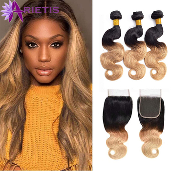 """#1b/27 Colorful Body Wave Bundles With Closure Brazilian Remy Human Hair Bundles """"4X4"""" Lace Closure With Baby Hair"""