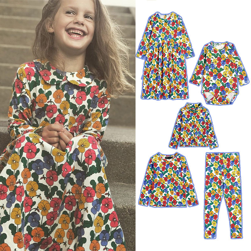 MINI Brand Kids Clothes T-shirts 2021 Autumn Girls Full Floral Pattern Dress Cotton Fashion Baby Romper Girl Boys Casual Pants 1