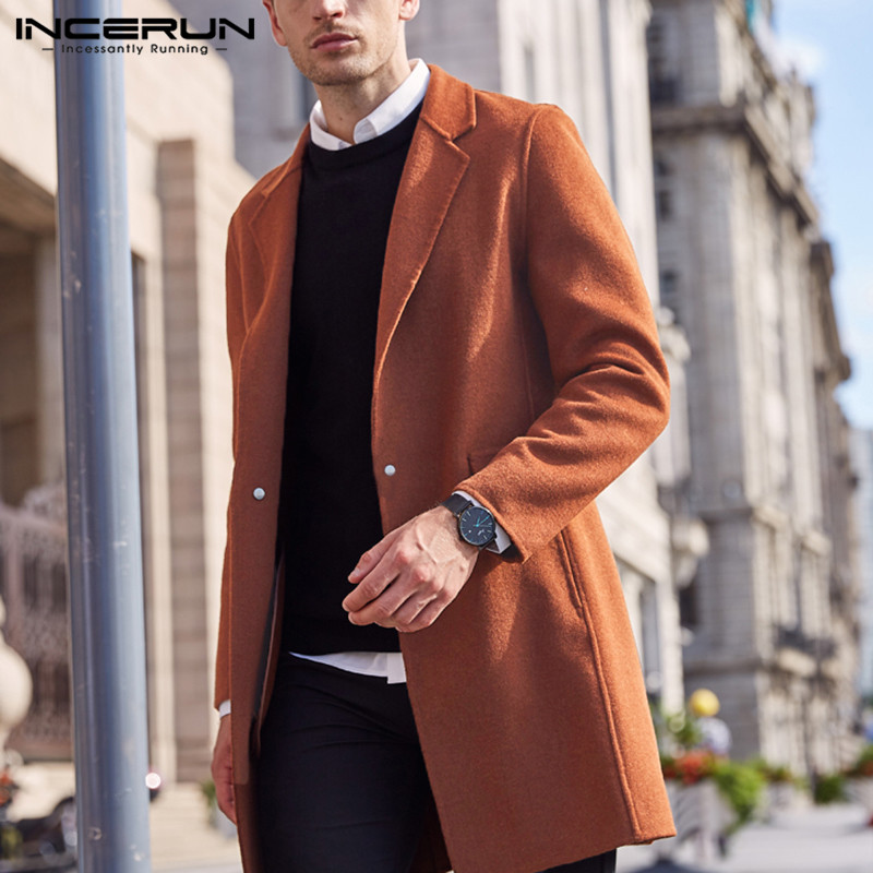 INCERUN Winter Fashion Men Coats Solid Faux Wool Blends Overcoats Long Sleeve Jackets 2020 Chic Streetwear Lapel Men Trench 5XL