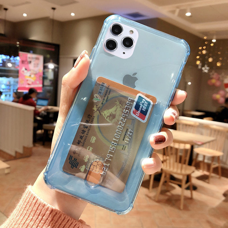 SUYACS Clear Card Holder Phone Case For iPhone 11 Pro Max XS MAX XR 6 6S X 7 8 Plus Soft TPU Solid Color Credit Slot Back Cover