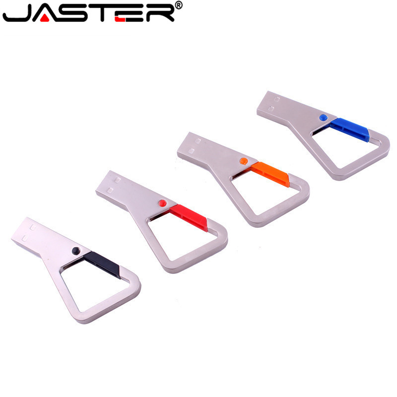 JASTER USB 2.0 Climbing Triangle Carabiner Pen Drive Metal Flash Drive USB Memory Stick 4GB~128GB U Disk (5pcs Custom LOGO)