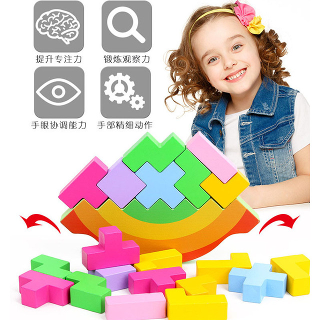 Wood Montessori Rainbow Swing Stacking Balance Game Kids Learning Educational Toy Wooden Tetris Jigsaw Puzzle Toys for Children