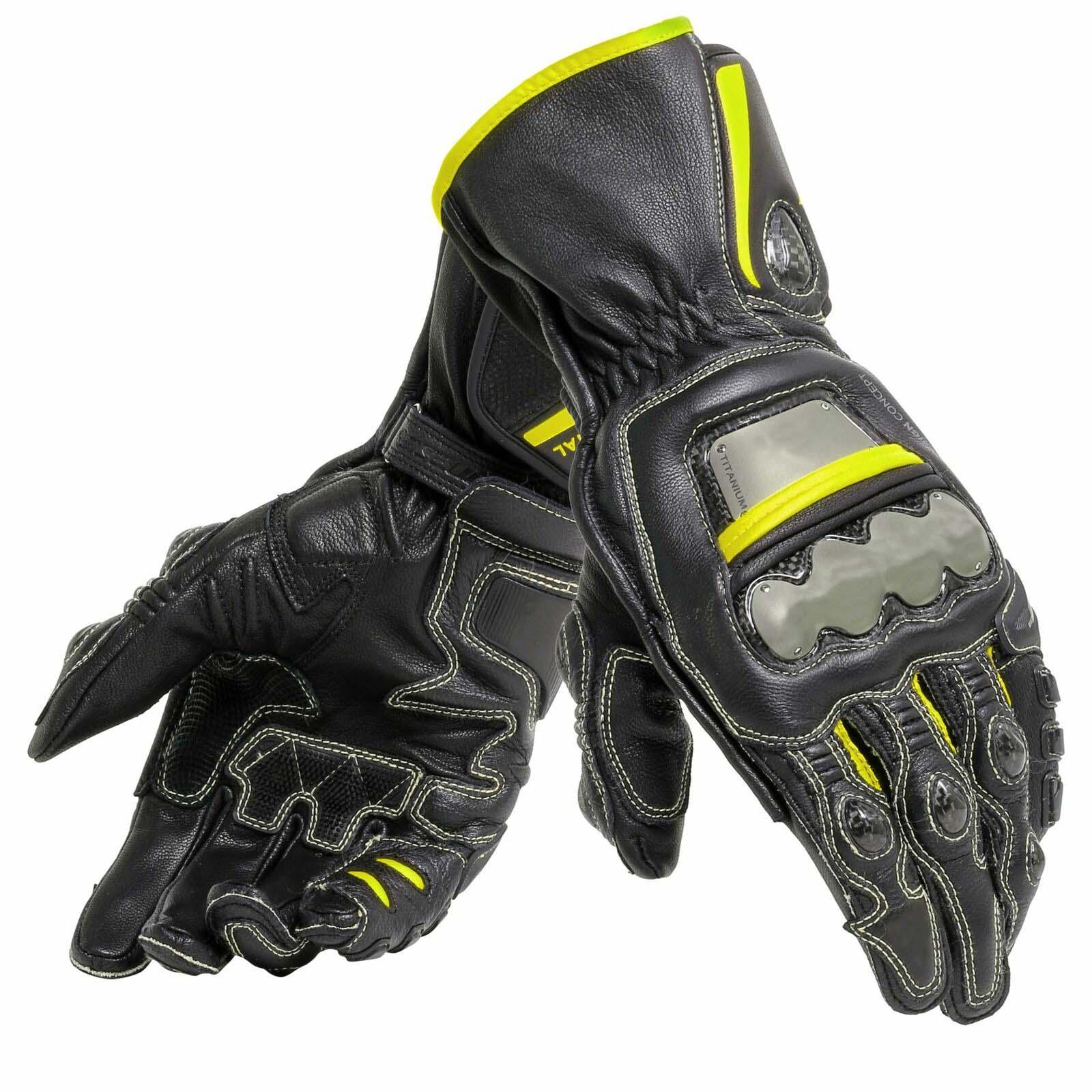 Genuine Leather Dain Full Metal 6 Motorcycle Long Gloves Anti Fall Titanium Motorbike Gloves Racing Motocross Gloves