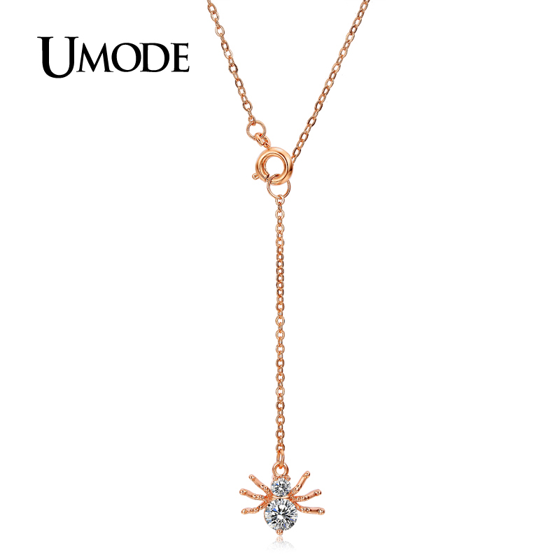 UMODE 2016 New Summer Style Cut Love18K Rose Plated Luxury Fashion Jewelry Necklaces Spider Pendants For Women AUN0227