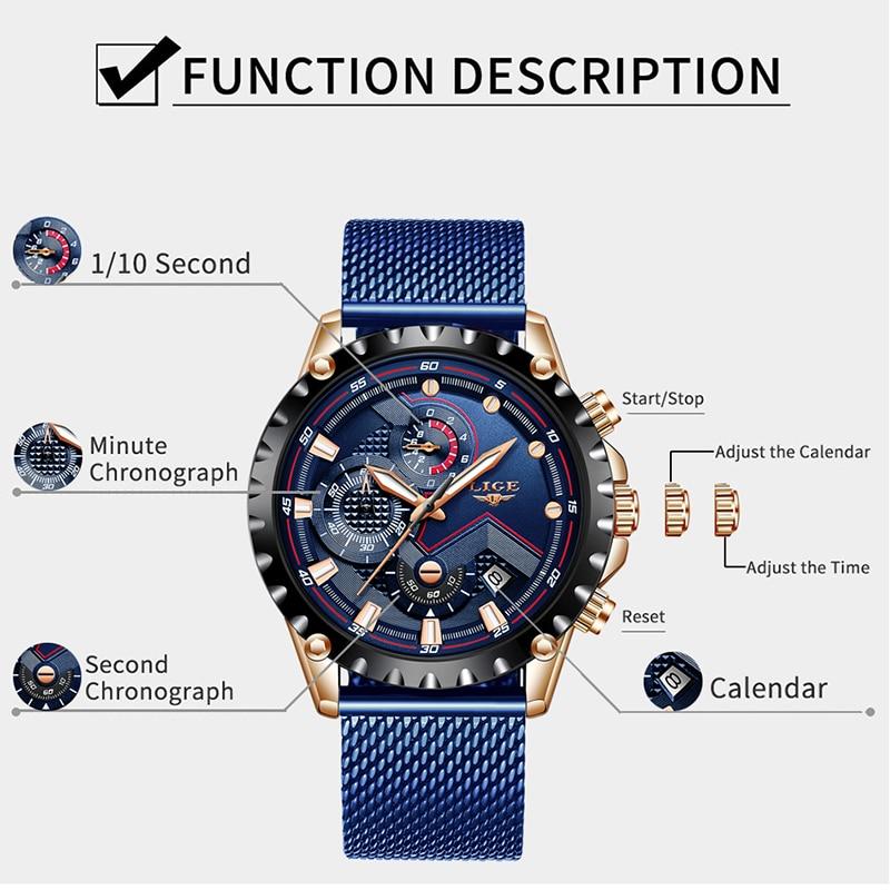 LIGE 2019 New Mens Watches Sport Chronograph Top Brand Luxury Waterproof Fashion Watch Quartz Watch Men Relogio Masculino Hot
