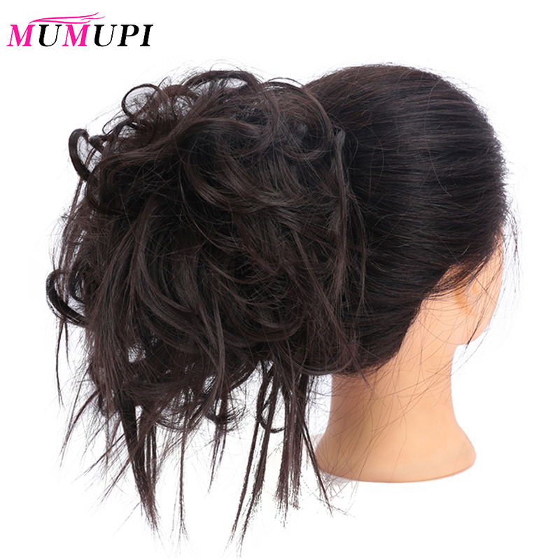 MUMUPI Rubber Band Curly Scrunchie Hair Bun Elastic Wrap Hair Ring Heat Resistance Synthetic Hair Accessories Black Blonde