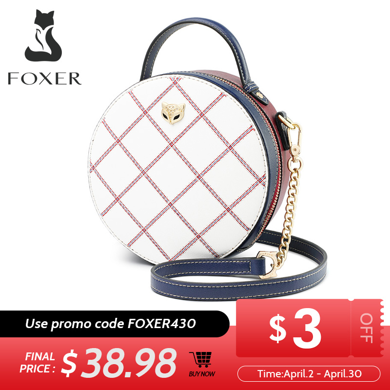 FOXER Mini Round Handbag Lady Split Leather Circular Crossbody Bags Female Stylish Cellphone Bag For Women Evening Bag 949011F