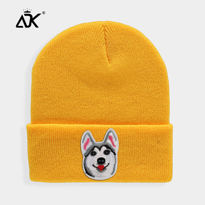 Huskies Hats Fashion Patches Sweet   Beanie   For Unisex Winter Brimless Stretchy Bonnet Solid Color Outdoor Cap Knitted   Beanie