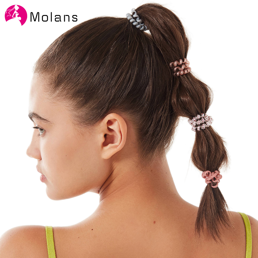 Molans 6PCS/bag Slim Telephone Cord Hair Tie Sets New Transparent Wire Line Elasticity Rubber Bands Elegant Elactic Hair Ropes