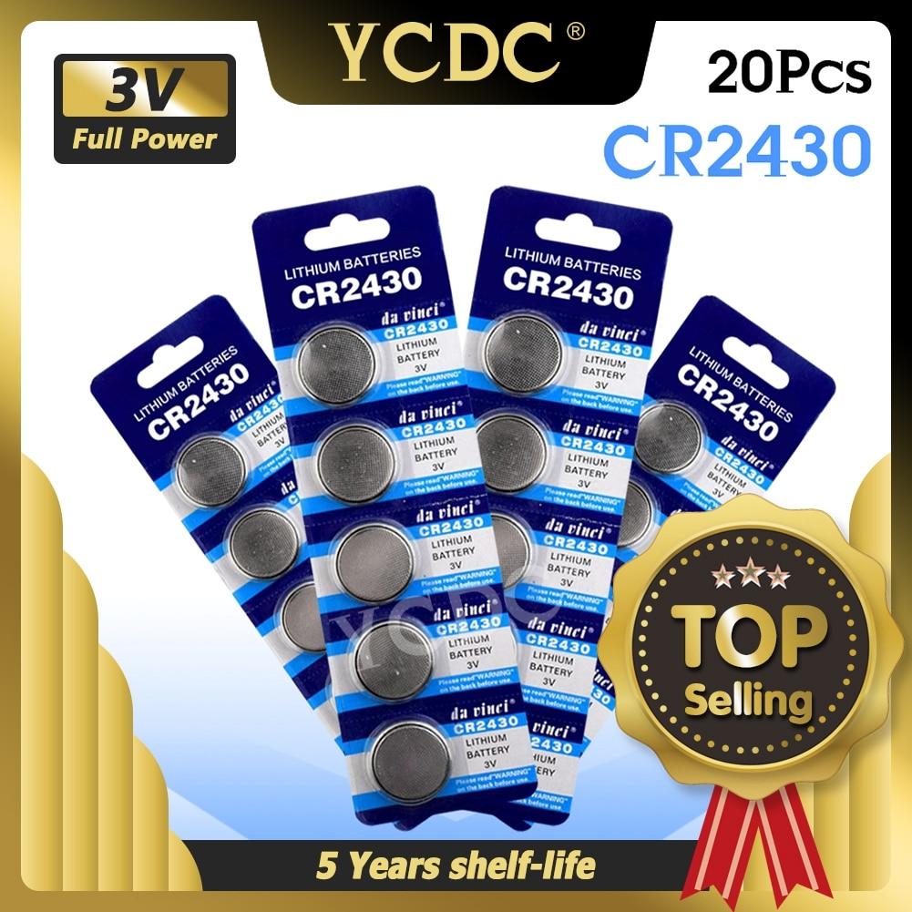 Литиевая батарея CR2430, 20 шт./лот, 3 в, CR 2430 DL2430 BR2430 ECR2430 для часов, компьютера, калькулятора, кнопки управления, игрушек, батареи