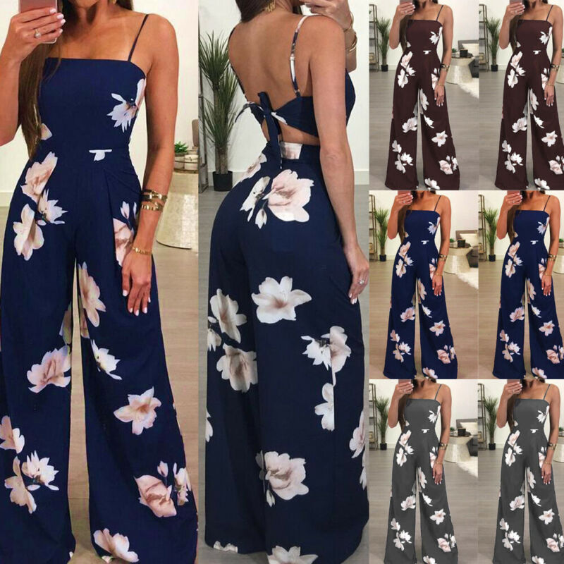 Women`s Summer Boho Floral Sleeveless Playsuit Casual Ladies Bodycon Party Clubwear Jumpsuit Romper Trousers