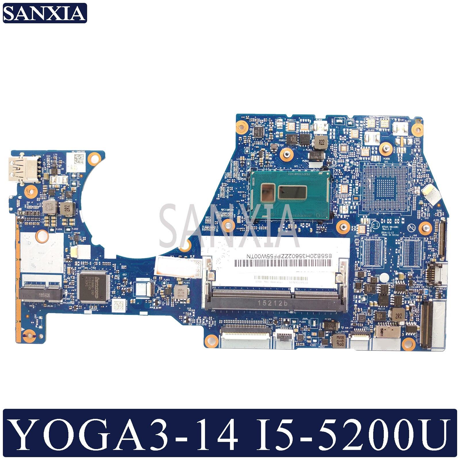 KEFU NM-A381 Laptop Motherboard For Lenovo YOGA 3-14 Original Mainboard I5-5200U