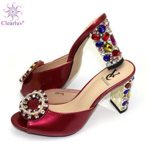 Wine red Color Ladies Shoes wi