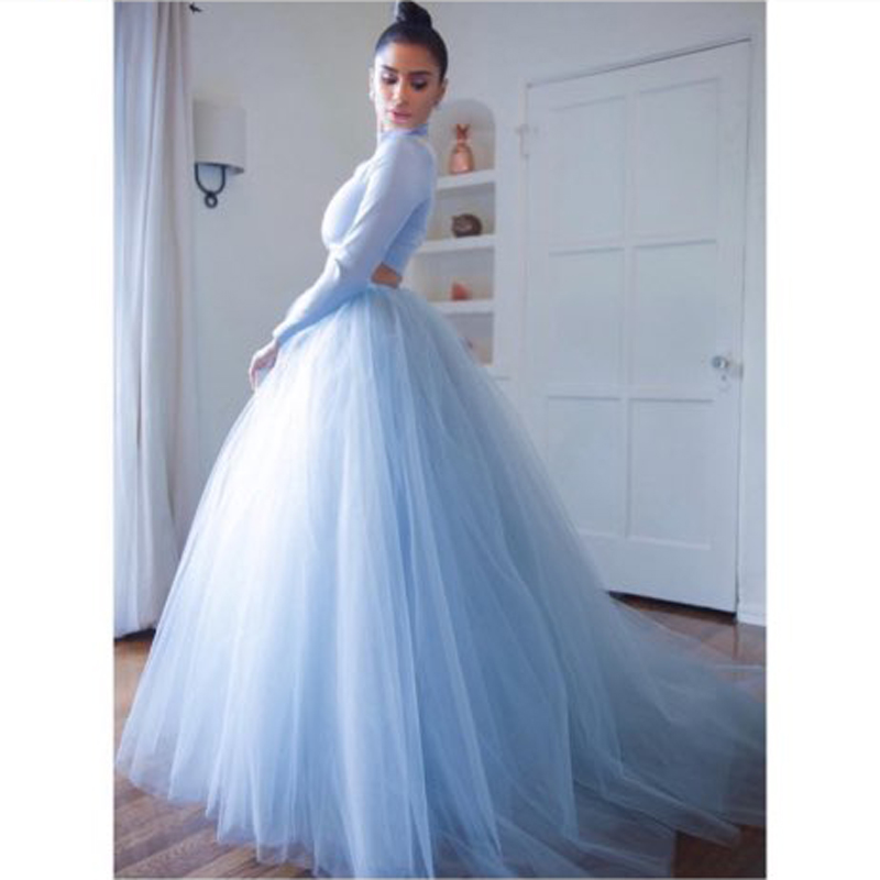 Baby Blue Long Tulle Skirt Ball Gown Sweep Train Prom Skirts 7 Layers Tulle Women Vintage Maxi Skirt Custom Made Saia Longa