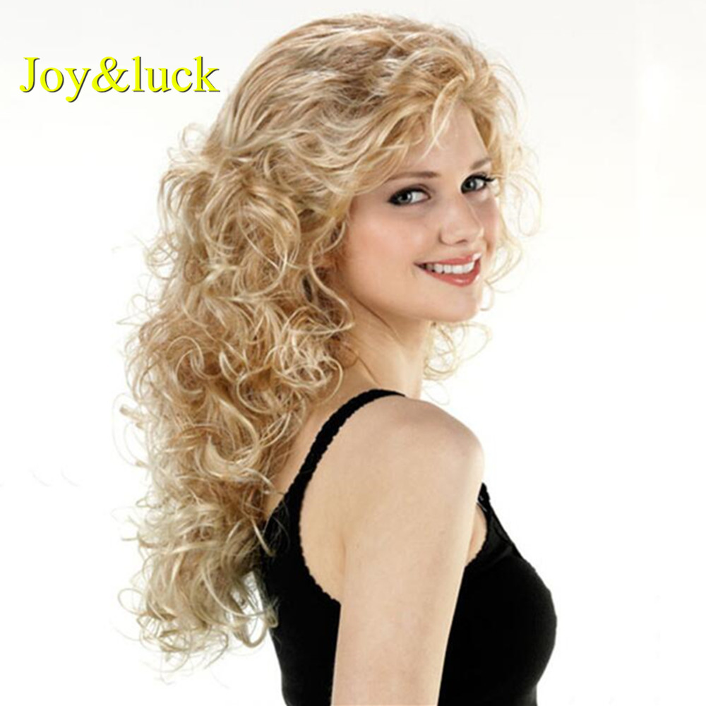 Joy&luck Fashion Long Synthetic Wigs Culry Blonde Wig for African Brown Wigs for Women Gold Luffy Full Wig With Bangs Hair Style