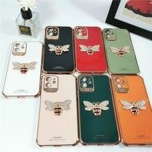 Fashion Diamond 3d Bee Female Soft Case For Iphone 11 12 Pro Max Mini 7 8 Plus Xr X Xs Max Se 2020 Silicone Phone Cover Fundas