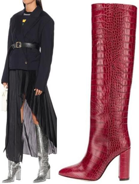 Pointed Toe Crocodile Print Python Square Heels Winter New Woman Slip On Knee High Long Boots Knight Boots Yellow Red Black