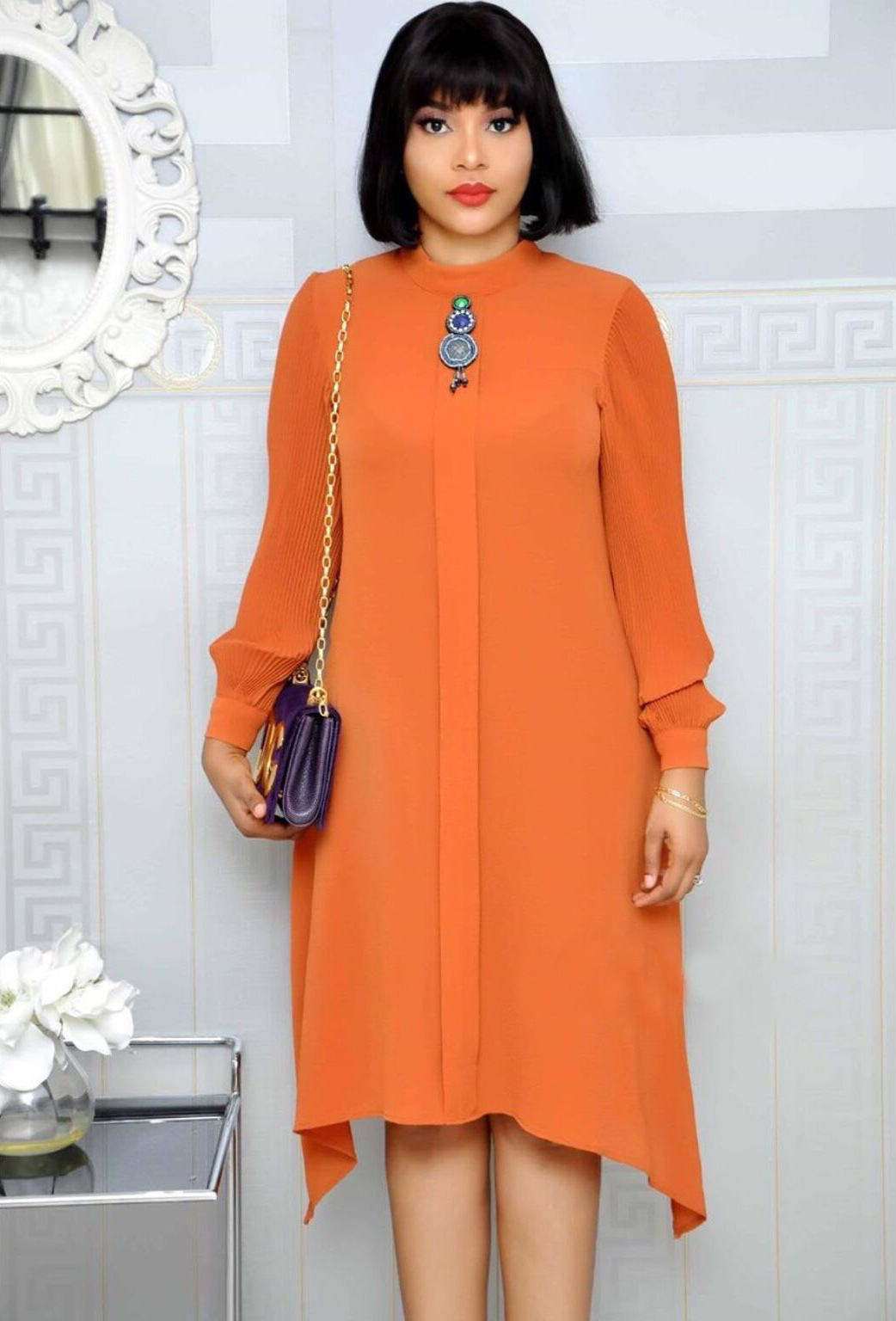 2019 New Arrival Autumn Elegent Fashion Style African Women Beauty Plus Size Dress M-XXL